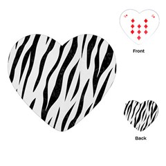 Skin3 Black Marble & White Linen Playing Cards (heart)