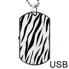 Skin3 Black Marble & White Linen Dog Tag Usb Flash (two Sides)