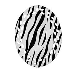 Skin3 Black Marble & White Linen Ornament (oval Filigree)