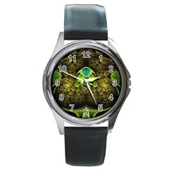 Beautiful Gold And Green Fractal Peacock Feathers Round Metal Watch