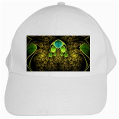 Beautiful Gold And Green Fractal Peacock Feathers White Cap