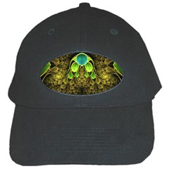 Beautiful Gold And Green Fractal Peacock Feathers Black Cap