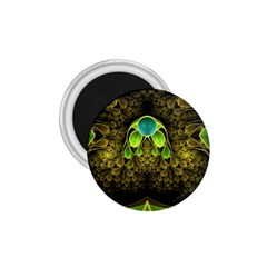 Beautiful Gold And Green Fractal Peacock Feathers 1 75  Magnets