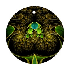 Beautiful Gold And Green Fractal Peacock Feathers Ornament (round)