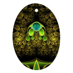 Beautiful Gold And Green Fractal Peacock Feathers Ornament (oval)