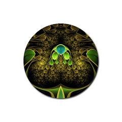 Beautiful Gold And Green Fractal Peacock Feathers Rubber Round Coaster (4 Pack)
