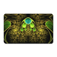 Beautiful Gold And Green Fractal Peacock Feathers Magnet (rectangular)