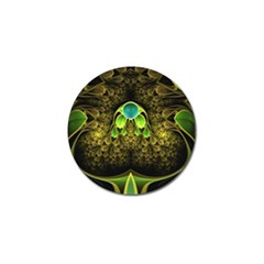 Beautiful Gold And Green Fractal Peacock Feathers Golf Ball Marker (10 Pack)