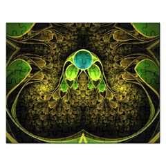 Beautiful Gold And Green Fractal Peacock Feathers Rectangular Jigsaw Puzzl