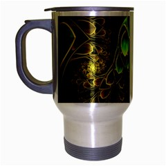 Beautiful Gold And Green Fractal Peacock Feathers Travel Mug (silver Gray)