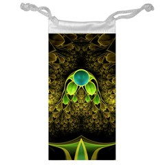Beautiful Gold And Green Fractal Peacock Feathers Jewelry Bag