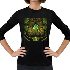 Beautiful Gold And Green Fractal Peacock Feathers Women s Long Sleeve Dark T Shirts