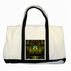 Beautiful Gold And Green Fractal Peacock Feathers Two Tone Tote Bag