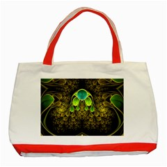 Beautiful Gold And Green Fractal Peacock Feathers Classic Tote Bag (red)