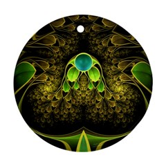 Beautiful Gold And Green Fractal Peacock Feathers Round Ornament (two Sides)