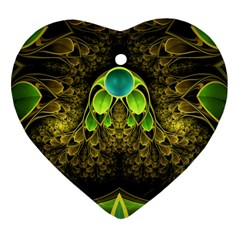 Beautiful Gold And Green Fractal Peacock Feathers Heart Ornament (two Sides)