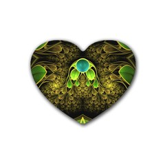 Beautiful Gold And Green Fractal Peacock Feathers Heart Coaster (4 Pack)
