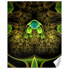Beautiful Gold And Green Fractal Peacock Feathers Canvas 11  X 14