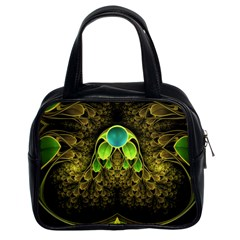 Beautiful Gold And Green Fractal Peacock Feathers Classic Handbags (2 Sides)