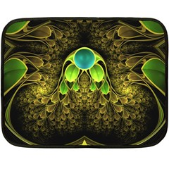 Beautiful Gold And Green Fractal Peacock Feathers Double Sided Fleece Blanket (mini)