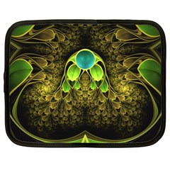Beautiful Gold And Green Fractal Peacock Feathers Netbook Case (xl)