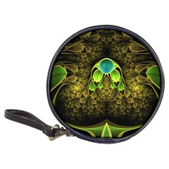 Beautiful Gold And Green Fractal Peacock Feathers Classic 20 Cd Wallets