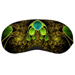 Beautiful Gold And Green Fractal Peacock Feathers Sleeping Masks
