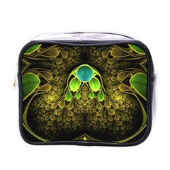 Beautiful Gold And Green Fractal Peacock Feathers Mini Toiletries Bags