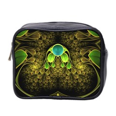 Beautiful Gold And Green Fractal Peacock Feathers Mini Toiletries Bag 2 Side