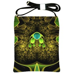 Beautiful Gold And Green Fractal Peacock Feathers Shoulder Sling Bags