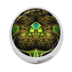 Beautiful Gold And Green Fractal Peacock Feathers 4 Port Usb Hub (one Side)