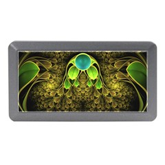 Beautiful Gold And Green Fractal Peacock Feathers Memory Card Reader (mini)