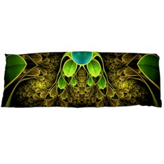 Beautiful Gold And Green Fractal Peacock Feathers Body Pillow Case Dakimakura (two Sides)
