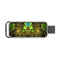 Beautiful Gold And Green Fractal Peacock Feathers Portable Usb Flash (one Side)