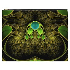 Beautiful Gold And Green Fractal Peacock Feathers Cosmetic Bag (xxxl)