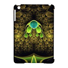 Beautiful Gold And Green Fractal Peacock Feathers Apple Ipad Mini Hardshell Case (compatible With Smart Cover)