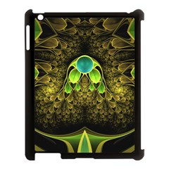 Beautiful Gold And Green Fractal Peacock Feathers Apple Ipad 3/4 Case (black)