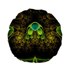 Beautiful Gold And Green Fractal Peacock Feathers Standard 15  Premium Round Cushions