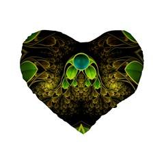 Beautiful Gold And Green Fractal Peacock Feathers Standard 16  Premium Heart Shape Cushions