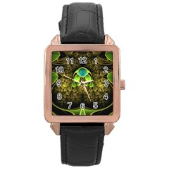 Beautiful Gold And Green Fractal Peacock Feathers Rose Gold Leather Watch