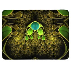 Beautiful Gold And Green Fractal Peacock Feathers Samsung Galaxy Tab 7  P1000 Flip Case