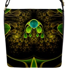 Beautiful Gold And Green Fractal Peacock Feathers Flap Messenger Bag (s)