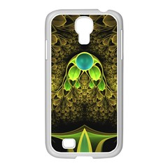 Beautiful Gold And Green Fractal Peacock Feathers Samsung Galaxy S4 I9500/ I9505 Case (white)