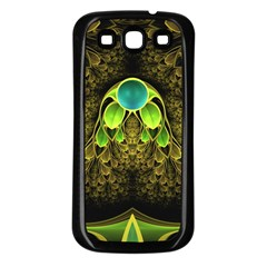 Beautiful Gold And Green Fractal Peacock Feathers Samsung Galaxy S3 Back Case (black)