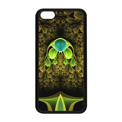 Beautiful Gold And Green Fractal Peacock Feathers Apple Iphone 5c Seamless Case (black)