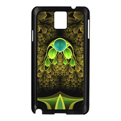 Beautiful Gold And Green Fractal Peacock Feathers Samsung Galaxy Note 3 N9005 Case (black)