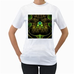 Beautiful Gold And Green Fractal Peacock Feathers Women s T Shirt (white)