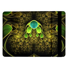 Beautiful Gold And Green Fractal Peacock Feathers Samsung Galaxy Tab Pro 12 2  Flip Case