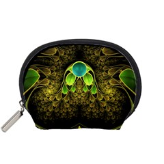 Beautiful Gold And Green Fractal Peacock Feathers Accessory Pouches (small)
