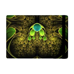Beautiful Gold And Green Fractal Peacock Feathers Ipad Mini 2 Flip Cases